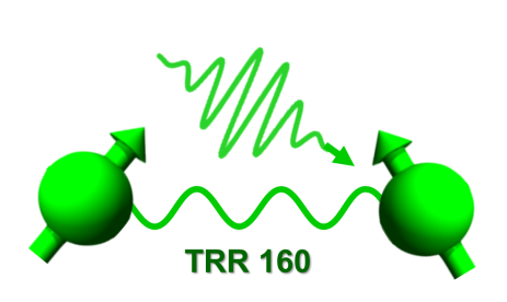 TRR 160 logo: Two coupled spins. One of them is excited by an electromagnetic waveform pulse.